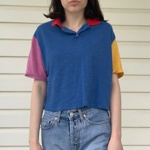 Cropped Colorblock Polo Shirt